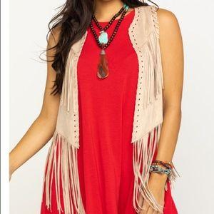 Women's Ariat Tan Bluegrass Fringe Vest